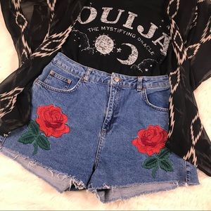 Mom Highrise Rose denim cut offs 14 jean shorts